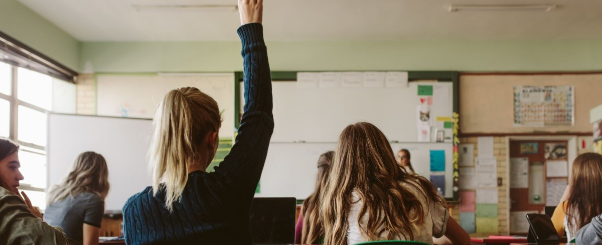 a student raises a hand in class